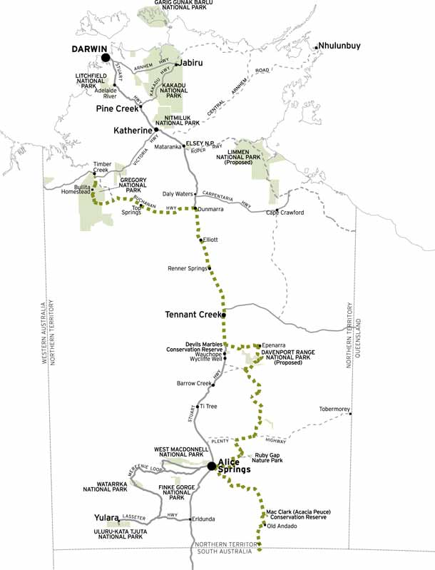 Map of the 4wd road  for the route of  Binns track